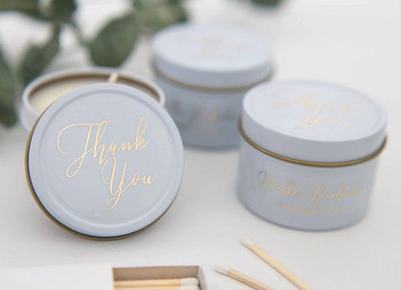 White Tin Candles - Thank You Script Personalized Candles, Travel Candles, Wedding Favors, Wedding C