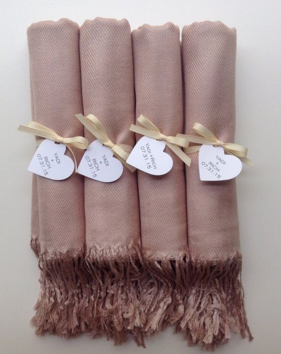 This Listing Includes (4) Nude Shawls with Ivory Ribbon and Heart Favor Tags *Please Include your Message for the Favor Tags upon check out The Shawls are 30% Silk and 70% Viscose The Shawls are 72 x 28 Large Orders Welcome | Please Convo Me! You can see our Entire Shop Here: